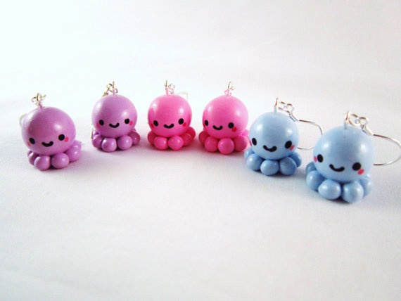 Kawaii Octopus Polymer Clay Earrings by DoodieBear on Etsy, $9,00