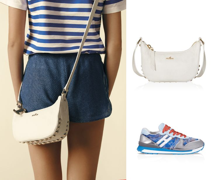 #HOGAN white Mini Hobo bag and #HOGANREBEL R261 sneakers for an easy and colourful look.
