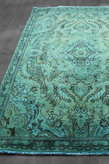 I first saw these on The Novagratz design show - such a beautiful way to modernize a classic. Lovely! Over-Dyed Persian Tabriz Design Wool Rug - Teal Blue Green - 4ft. 9in. x 7ft. 8in.