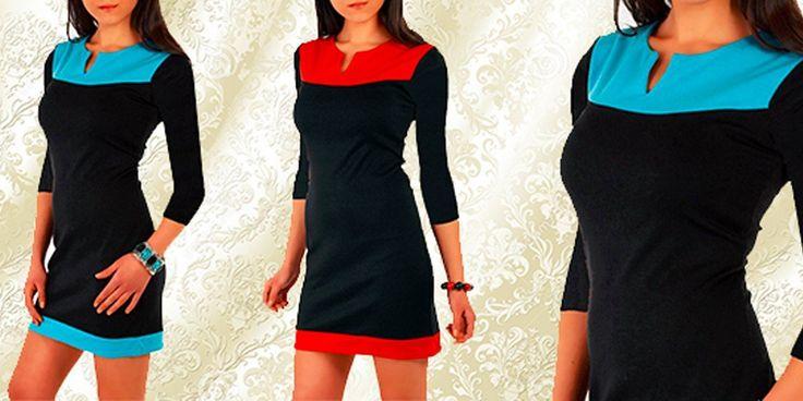 Výsledek obrázku pro Šaty s 3/4 rukávem – Černá s tyrkys 599 Kč 399 Kč