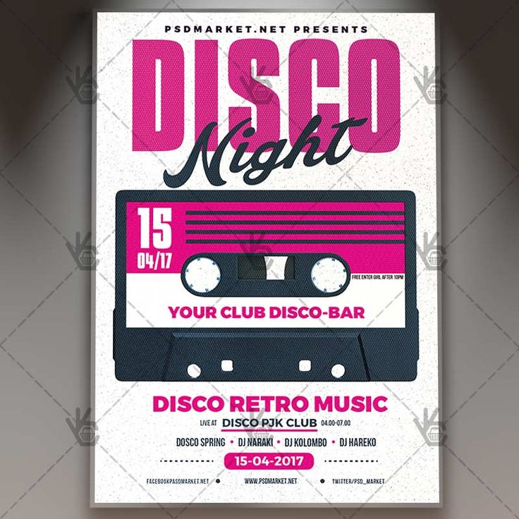 Disco Night - Premium Flyer PSD Template.  #80s #music #90s #band #boombox #concert #disco #dj #event #fest #indie #karaoke #party #popart #radio #retro #stereo #tape #vintage  DOWNLOAD PSD TEMPLATE HERE: https://www.psdmarket.net/shop/disco-night-premium-flyer-psd-template/  MORE FREE AND PREMIUM PSD TEMPLATES: https://www.psdmarket.net/shop/
