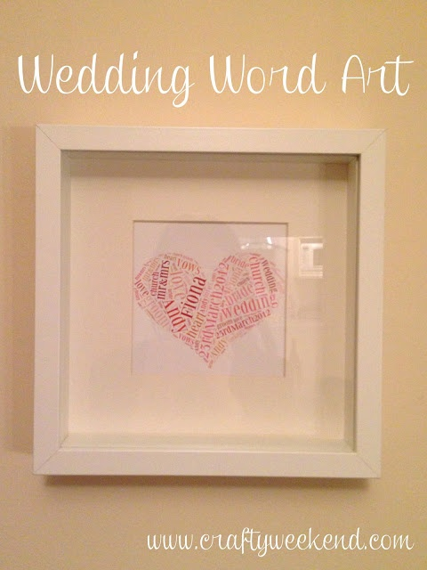 Homemade wedding present - word art in a box frame