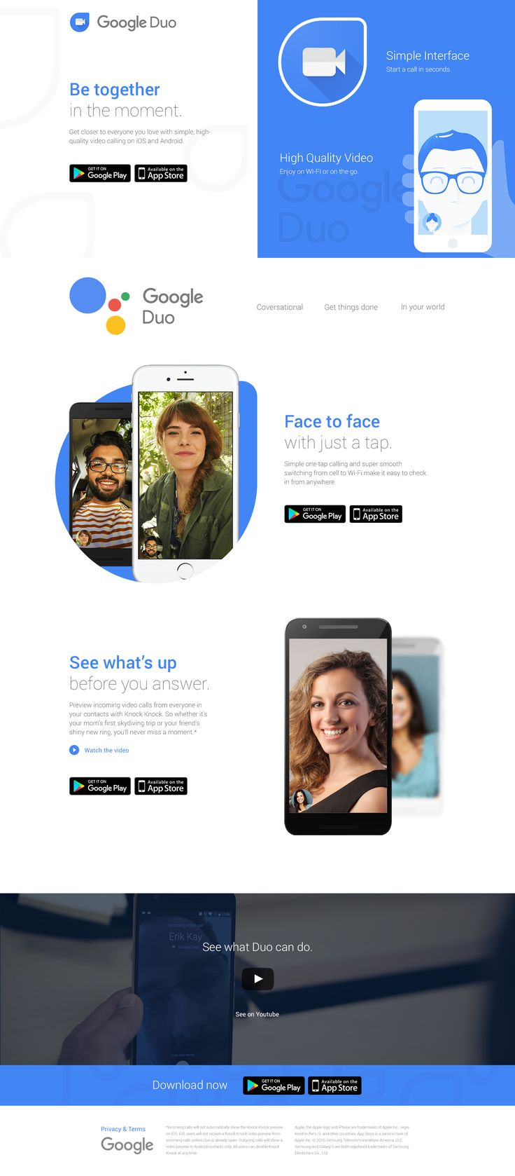 Google Duo App Landing Page Concept