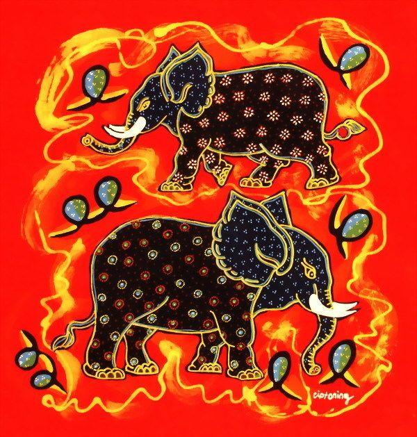 Indonesia Ethnic Decorative Wall Hanging Folk Art, cute elephant w427  http://www.indonesian-batik.com