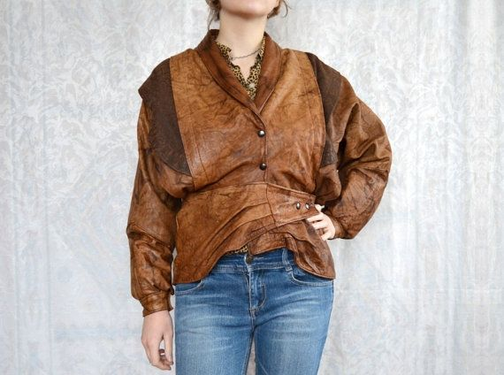 Vintage 80s leather jacket boho clothing autumn by WearSpace, $65.00