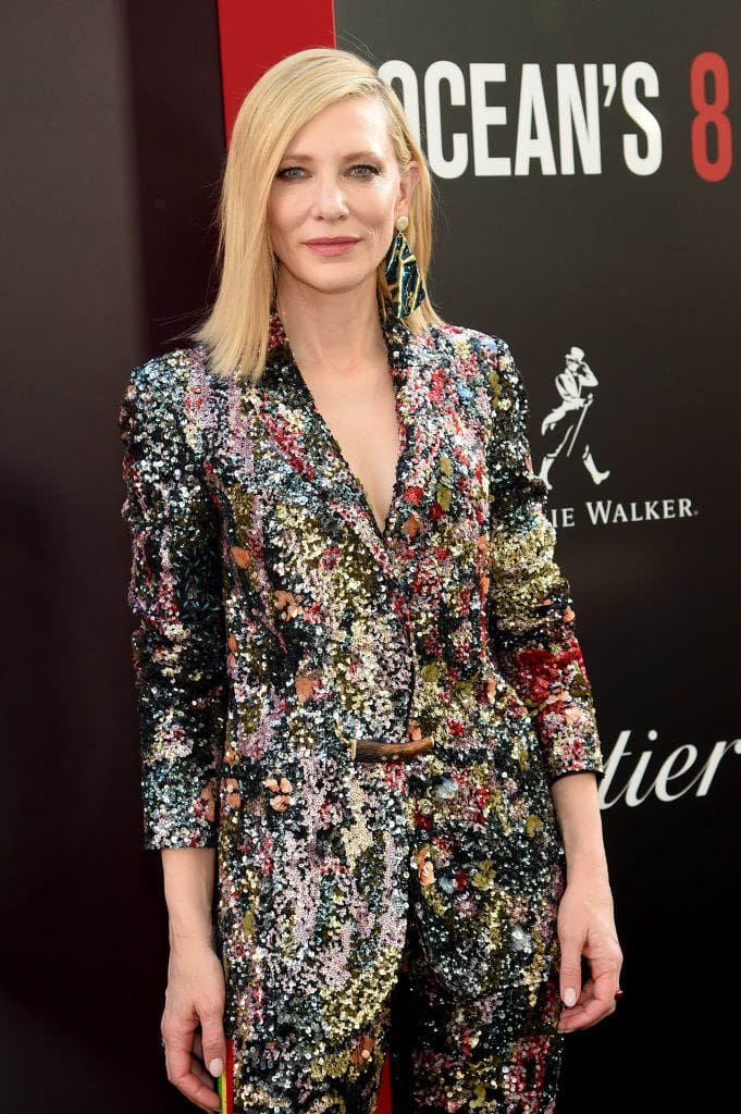 A List Of All The Suits Cate Blanchett Has Worn On The Ocean S 8 Press Tour For Science Cate Blanchett Fashion Fashionistas Style