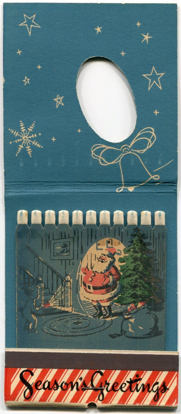 Season's Greeting's Large Santa Match Book from rustyrecycle on Ruby Lane..