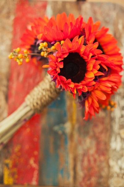 Red sunflower bouquet for bridesmaids