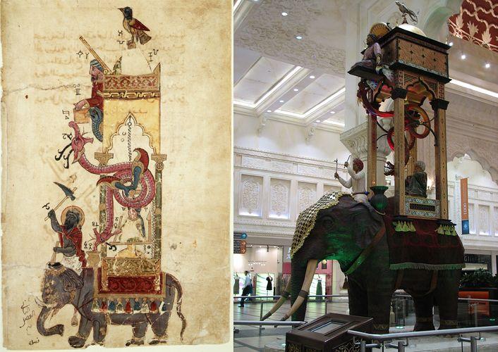 Image from http://catphi.files.wordpress.com/2010/09/1_al-jazari_automata_elephant-clock_1315_and_replica.jpg.