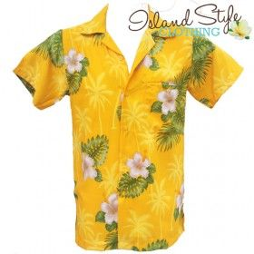 Mens Hawaiian Shirts - Plus Size | Yellow Hibiscus Floral Fancy Dress Costume for Big Boys.  http://islandstyleclothing.com.au/menswear/hawaiianshirts-plussize