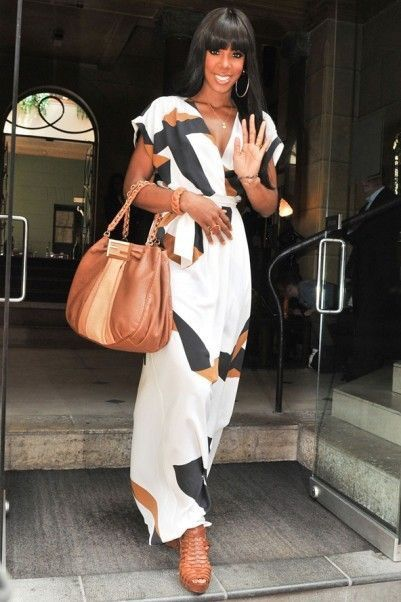SheIn Geometric Print Split Maxi Dress, Printed Maxi Dress, Kelly Rowland Inspired Look