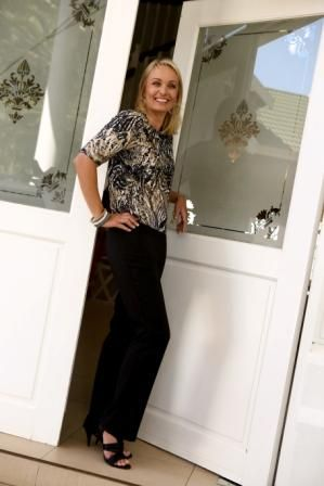 Classic black pants and skin print top