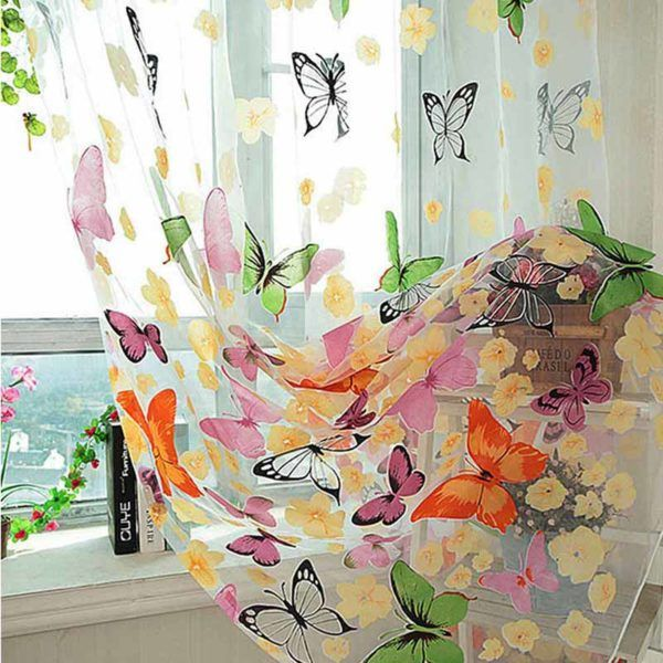 1pcs Colorful Butterfly Sheer Voile Curtain Panel Window Patio Room Divider 6A