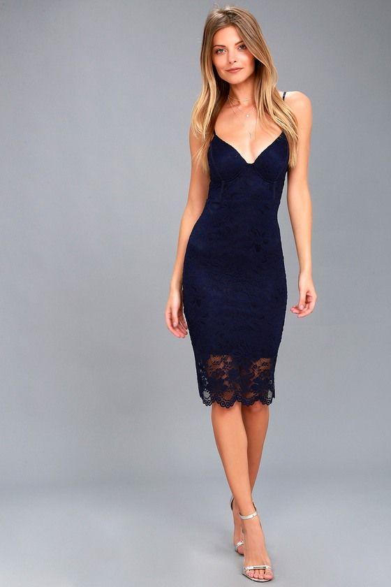8fa867be6488 Versailles Navy Blue Lace Bodycon Midi Dress | Favorite: Lulu's ...
