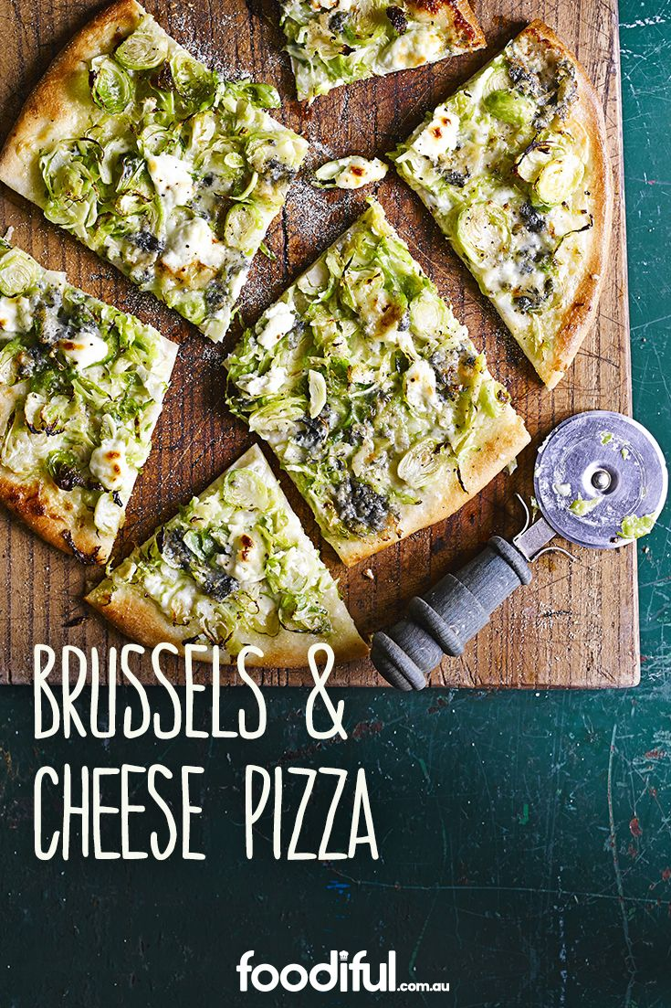 This pizza is an easy dinner recipe or shareable afternoon snack. With creamy blue cheese and crispy Brussel sprouts, it takes 22 minutes and can serve 2 people.