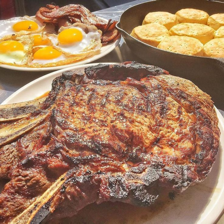 Breakfast Fit For A King!!!! Steak and Eggs has never looked this damn good! @bar_n_que taking the classic pairing to the next level!!! Wow . 3 Bone-In Ribeyes served with Thick Cut Bacon 6 Fresh Duck Eggs and of course Buttery Cast Iron Biscuits. . . . . . #feasting #nextlevelshit #bbq #barbeque #barbecue #instafood #foodporn #weber #webergrill #grilling #grilled #steak #bacon #ribeye #bacon #biscuits #bge #smokedmeat #fogocharcoal #code3nation #eggs #duckeggs #paleo #bbqlife #bbqporn…