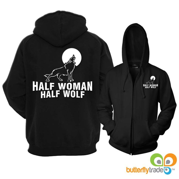 Half Woman Half Wolf Full Zip Reflective Hoodie