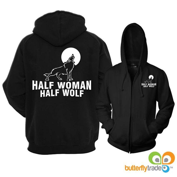 Half Woman Half Wolf Full Zip Reflective Hoodie