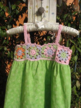 Crochet bodice, knit/woven skirt.