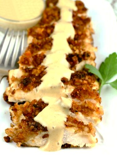 Honey Mustard Pretzel Chicken- oh yea, this is super easy and I always have these ingredients in my pantry!  interesting but no one liked ..doesnt reheat well either