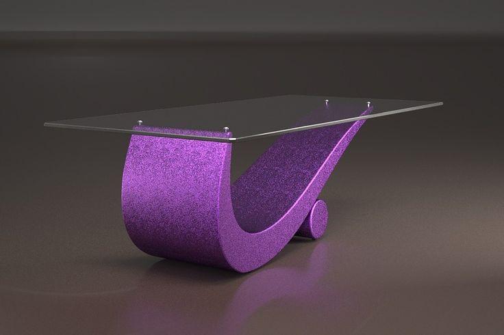 Articolo 43C-17     Tavolino da salotto FlexFinitura: viola.Misure: cm 110 x 65  - Altezza: cm 42 - Peso: Kg. 52Vetro: rettangolare -  temperato - extra white - filo lucido - spessore 1 cm