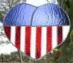 "Patriotic Flag Stained Glass Sun Catcher Design - 6 1/2"" x 7 1/2"" - $26.95  - Handcrafted Stained Glass Designs  * More at www.AccentOnGlass.com"