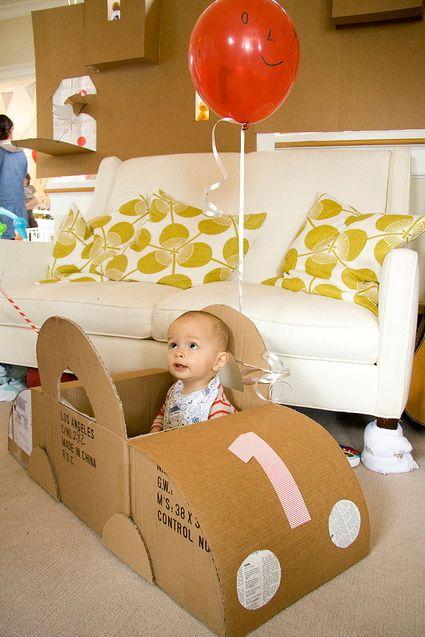 cardboard box theme first birthday party.
