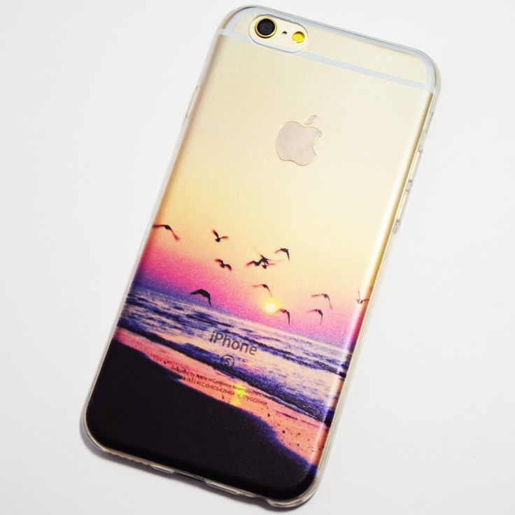 Phone Cases - Seagulls Flying on the Beach at Sunset iPhone 6 / iPhone 6S Soft Case