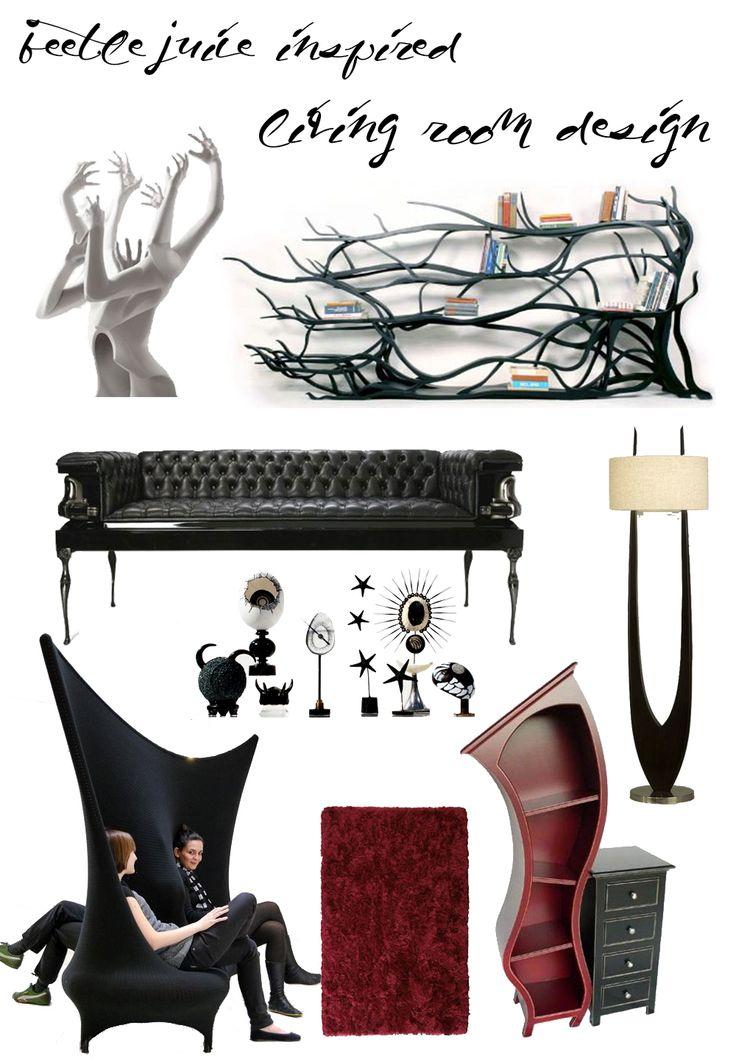 Beetlejuice inspired living room interior design interior design