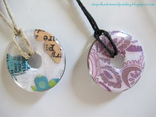 Polka Dots and Paisley: Washer Pendant.  Can use sheet music, dictionary definition...