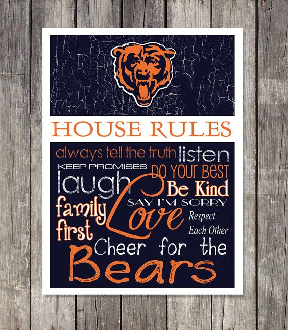 CHICAGO BEARS House Rules Art Print by fanzoneimprintz on Etsy