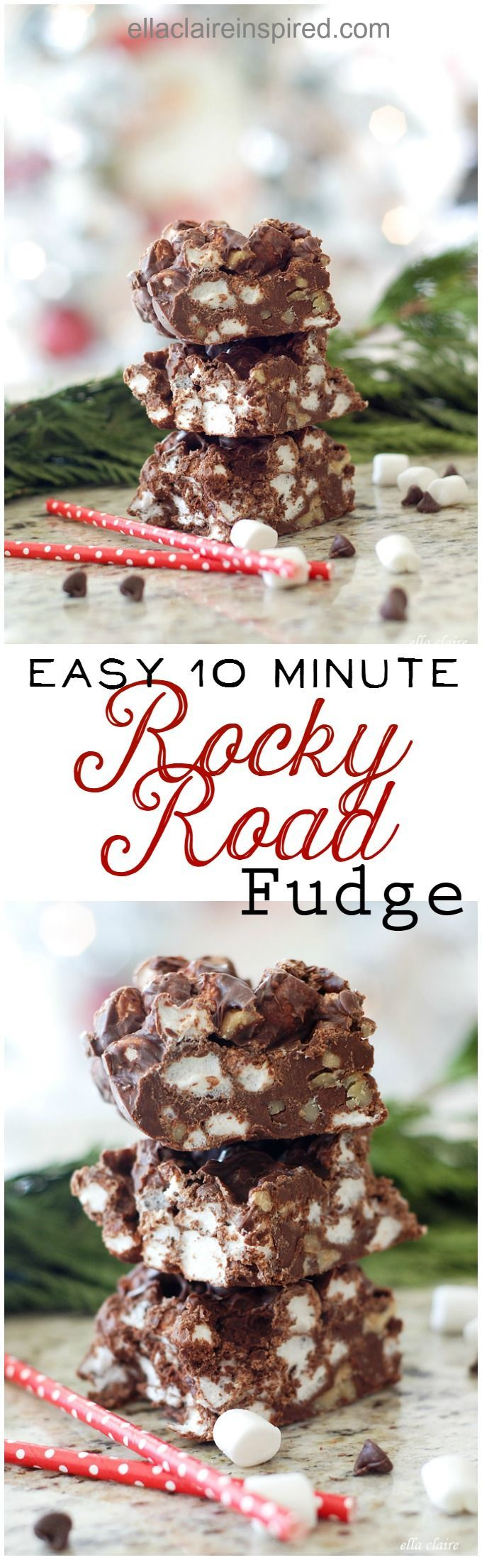 Whip up this amazingly delicious Rocky Road Fudge recipe in less than 10 minutes! Find the recipe here at ellaclaireinspired.com