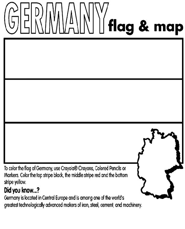 Use Crayola® crayons, colored pencils, or markers to color the flag of Germany. Color the top stripe black, the middle stripe red, and the bottom stripe yellow.   Did you know?  Germany is located in Central Europe, and its capital is Berlin. Germany is among one of the world's greatest technologically advanced makers of iron, steel, cement, and machinery.