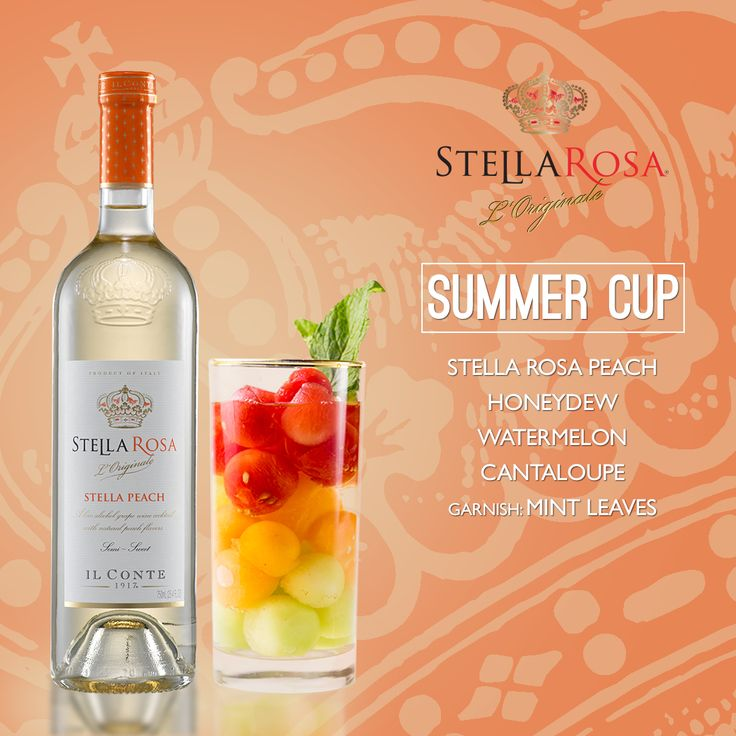 Stella Rosa Wines original cocktail recipe: Summer Cup. -- Combine honeydew, watermelon, cantaloupe and Stella Rosa Peach. Garnish with mint leaves. (watermelon alcoholic drinks tipsy bartender)