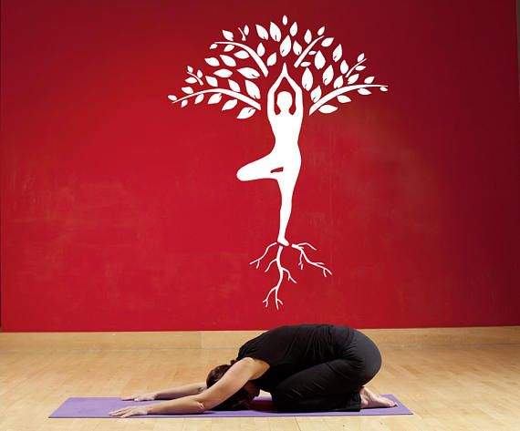 Wall Window Decal Sticker Yoga Tree Pose Meditation Roots Yoga