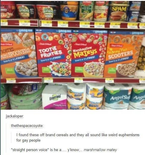 When these cereals sounded like nervous straight people. | 21 Times LGBT People Hilariously Shut Down Homophobia