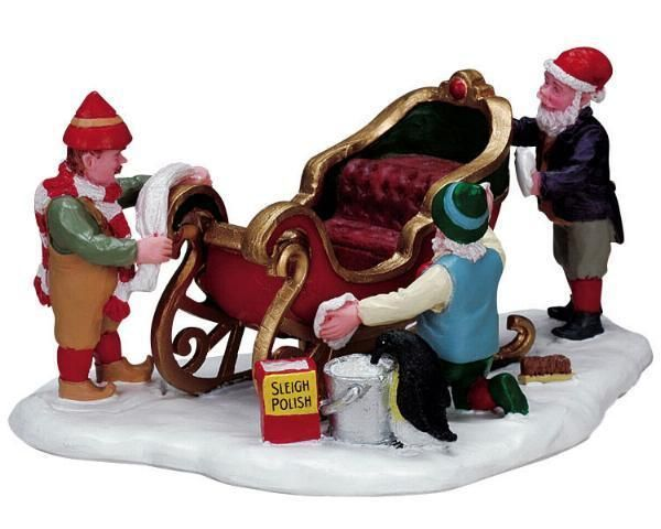 LEMAX SANTAS WONDERLAND ELVES DETAILING THE SLEIGH LOT 233 NIB TABLE ACCENT in Collectibles, Holiday & Seasonal, Christmas: Current (1991-Now)   eBay