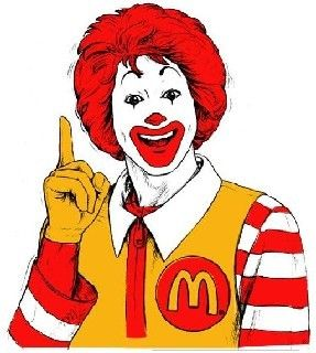 Low cognitive effort, This is Ronald McDonald, the mascot for the McDonalds franchise that is advertised around the world.