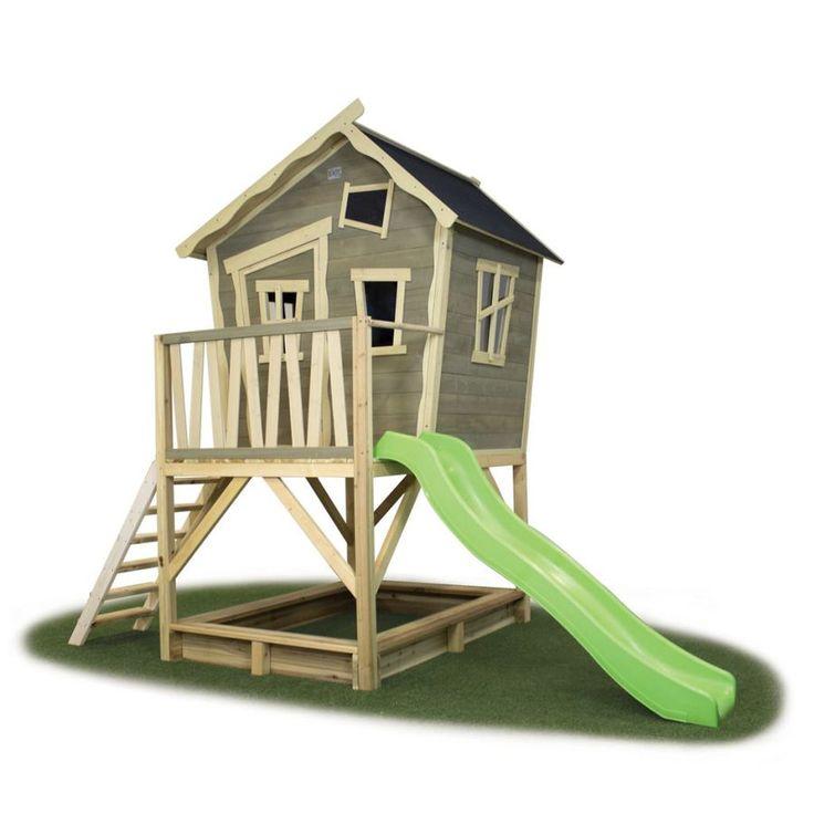 Iso leikkimökki liukumäellä - Exit Crooky 500 tarjoaa hauskoja leikkihetkiä lapsille