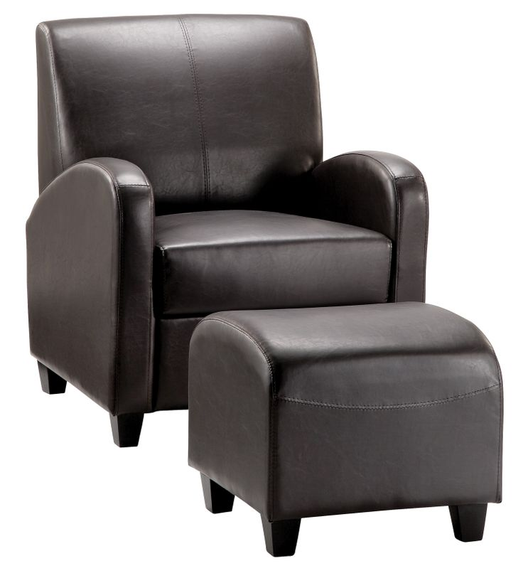 """Brown Club Stool & Chair  These attractive faux leather Club chairs and complementary stools are the perfect place to """"take the weight off"""" and relax a while. Supplied fully assembled in one carton.  Stool Dimensions: W500mm x D470mm x H430mm Chair Dimensions: W755mm x D750mm x H920mm"""