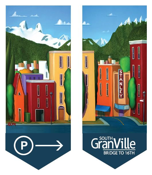 Glenn Payan street banner design, Spring 2011, South Granville, Vancouver