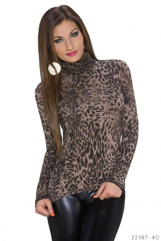 Bruin luipaard shirt met lange mouwen en col hals