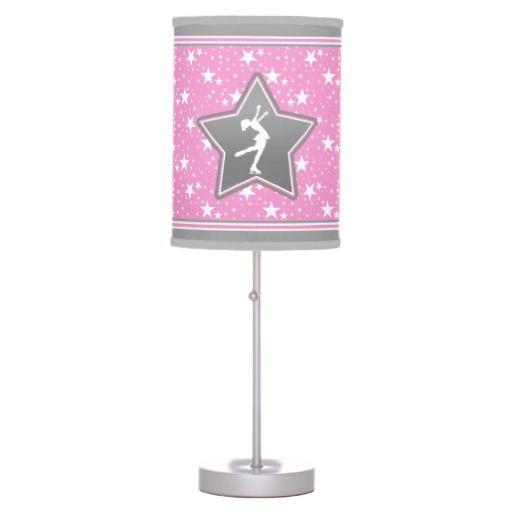Figure Skater Among the Stars Pink Desk Lamp