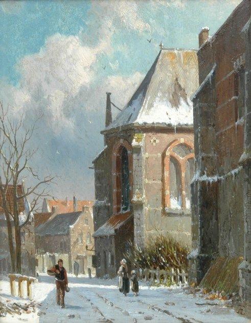 Adrianus Eversen - Besneeuwde straat achter een kerk