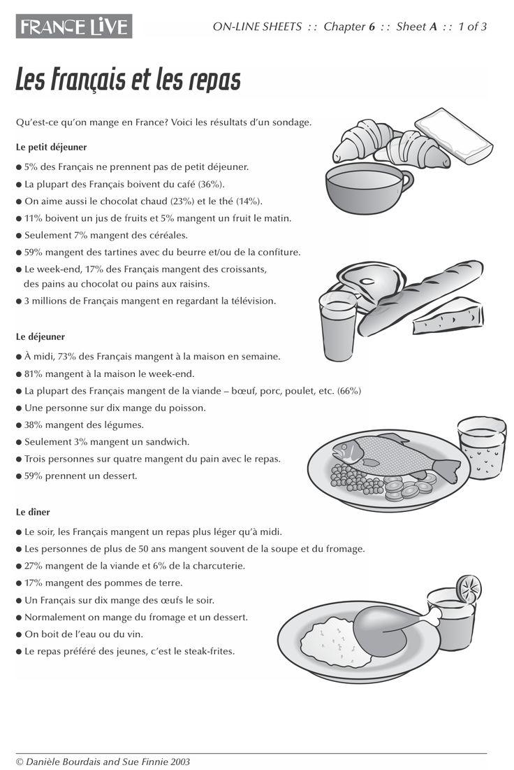 Tous niveaux (avec la presentation du repas formel) - Les Français et les repas