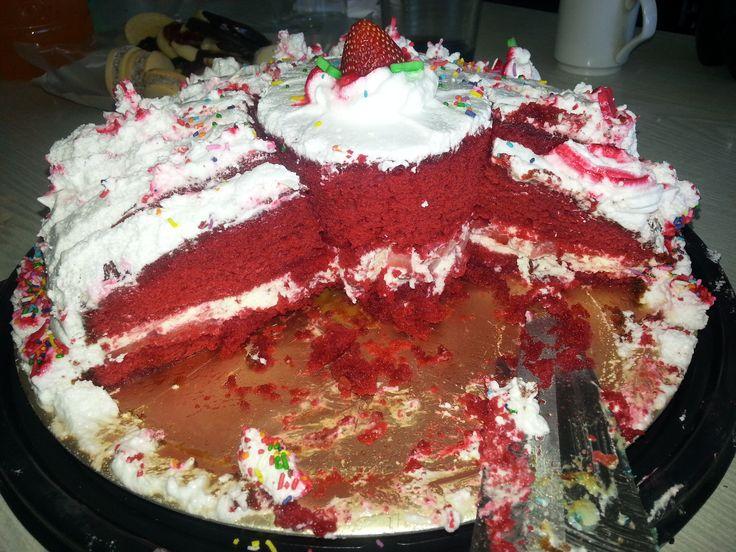 Red Velvet Cake with cream, strawberries and white chocolat