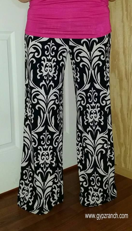 Summer Honeymoon Damask Palazzo Pants - Plus Size