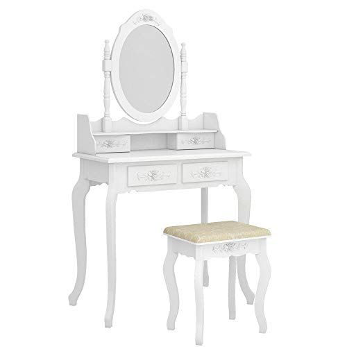 White Dressing Table Girl Vanity Set Mirror Stool Furniture Children Dresser NEW
