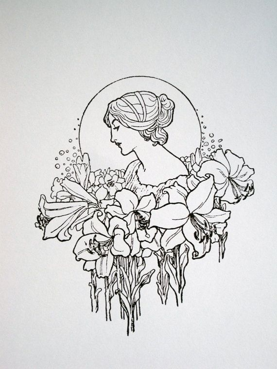 Art Nouveau : Lady with Flower Garland - limited edition screenprint.   NigelDK