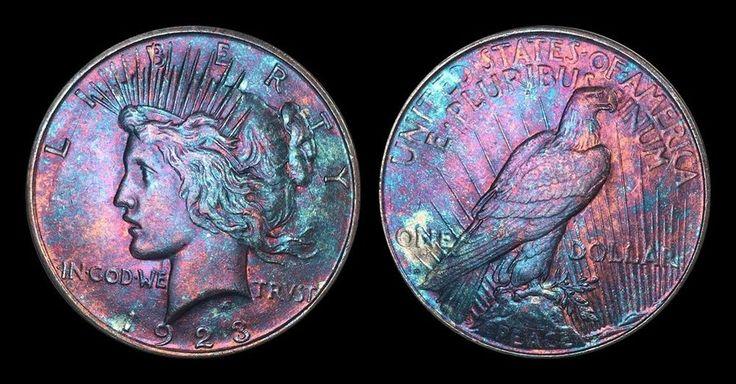 1923 Silver Peace Dollar BU MS Rainbow Color Toned Gem